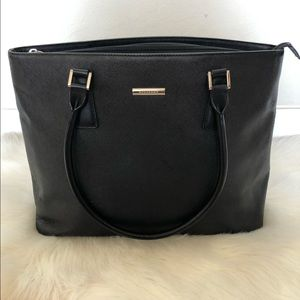 BURBERRY Saffiano Leather Black Shoulder Bag Tote